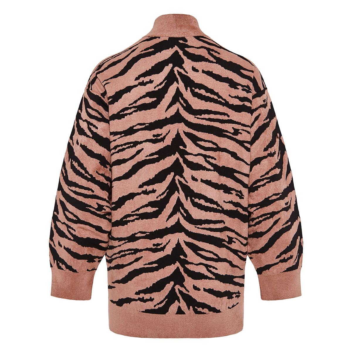 Zebra oversized jacquard-knit sweater