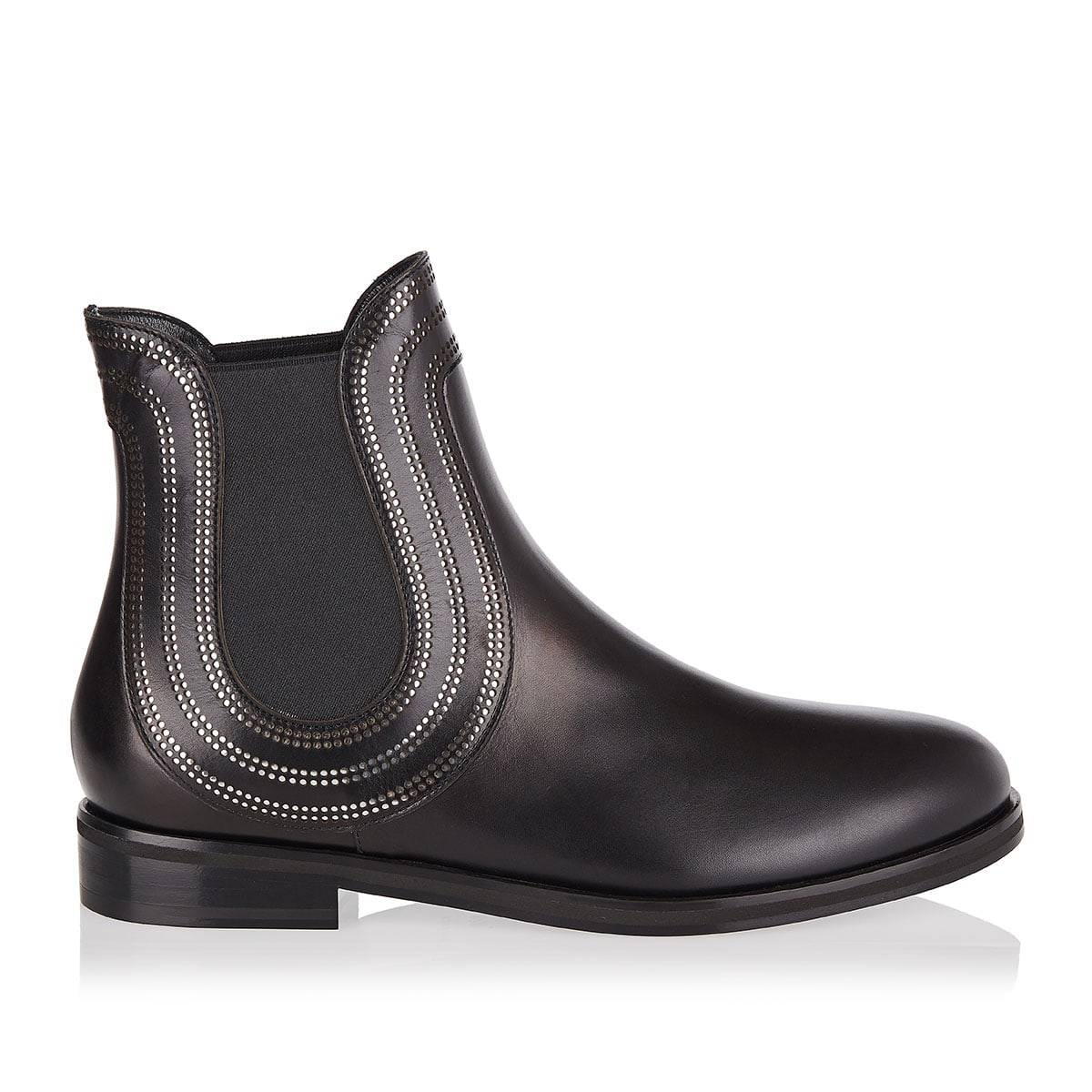 Studded leather chelsea boots