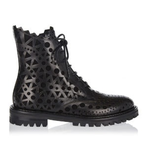 Laser-cut leather combat boots