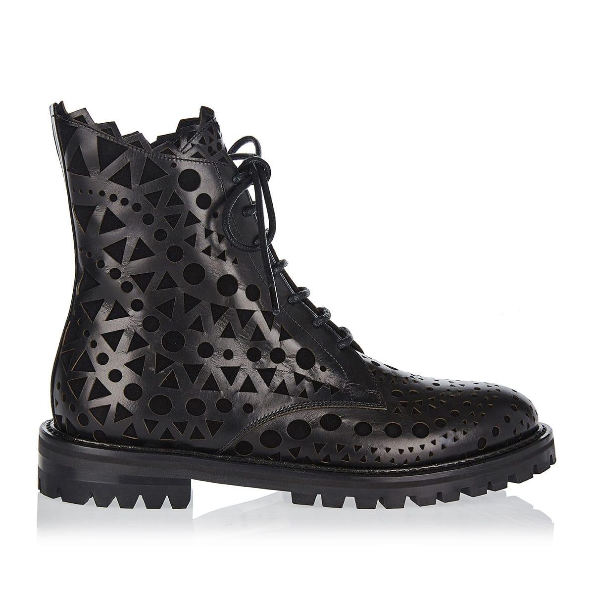 Laser-cut leather combat boots