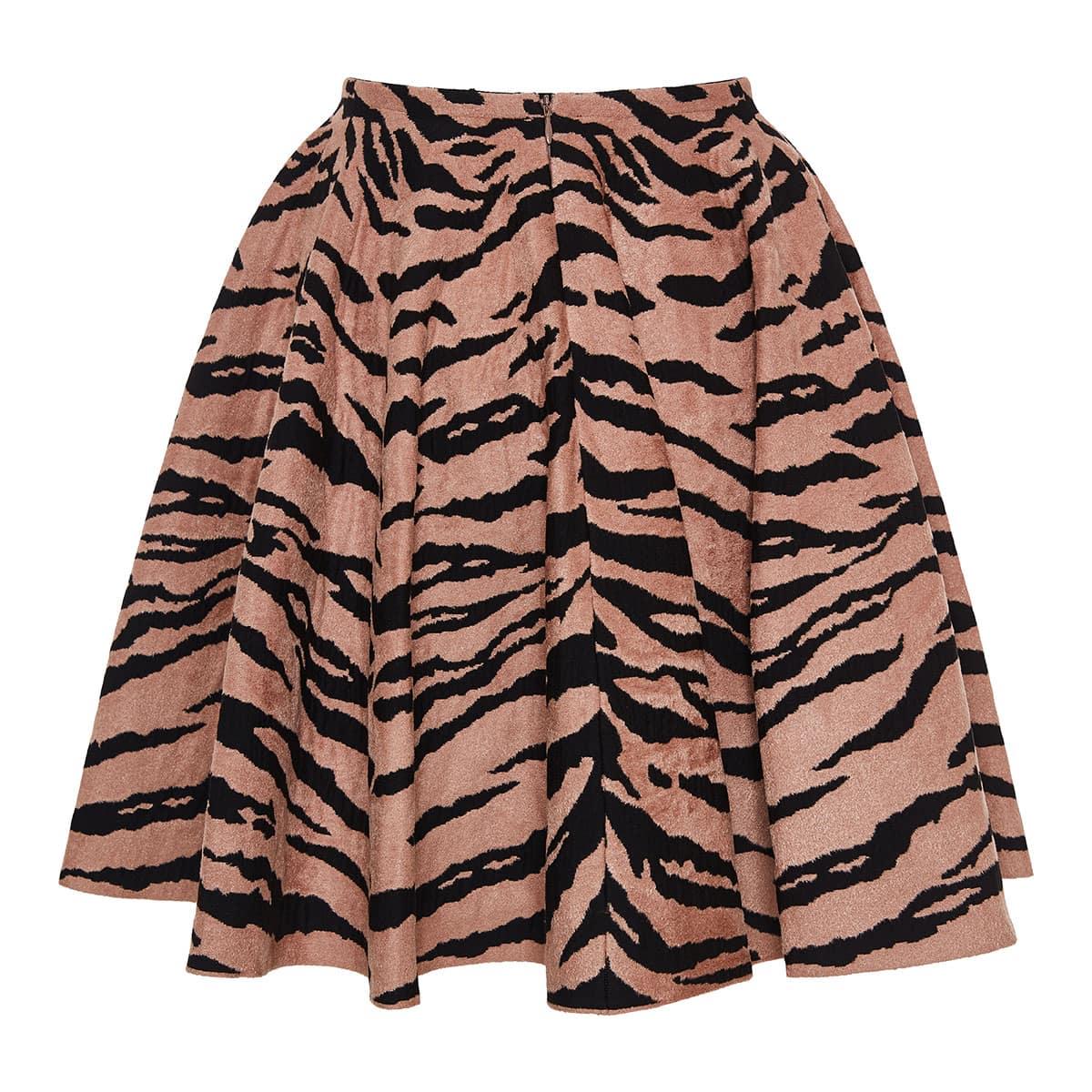 Zebra jacquard-knit mini skirt