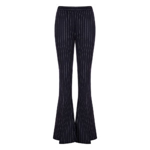 Pinstripe wool flared trousers