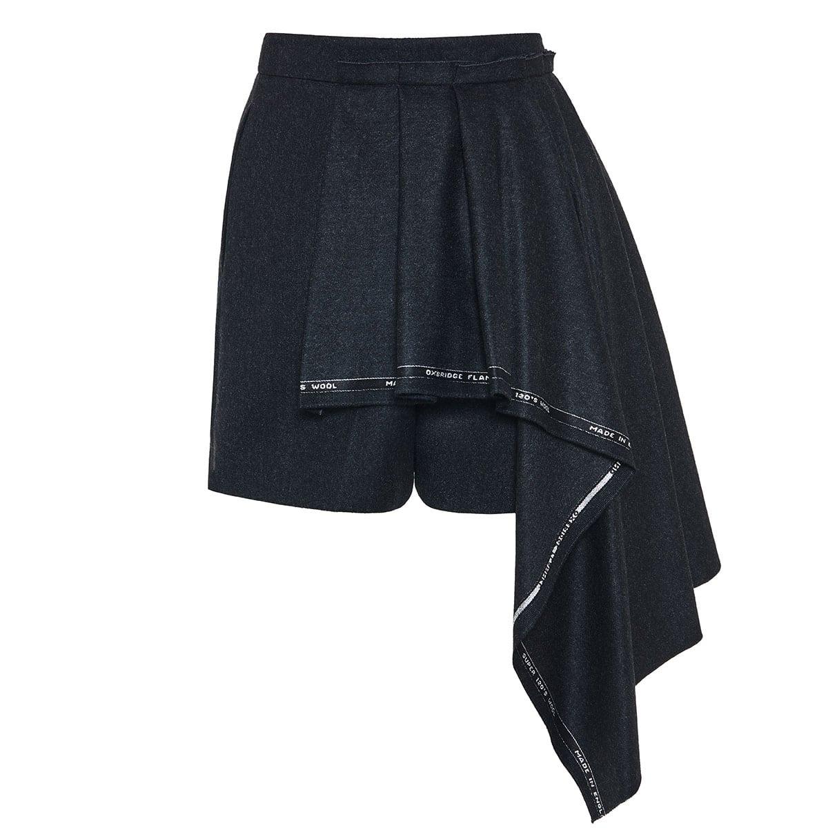 Draped asymmetric wool shorts