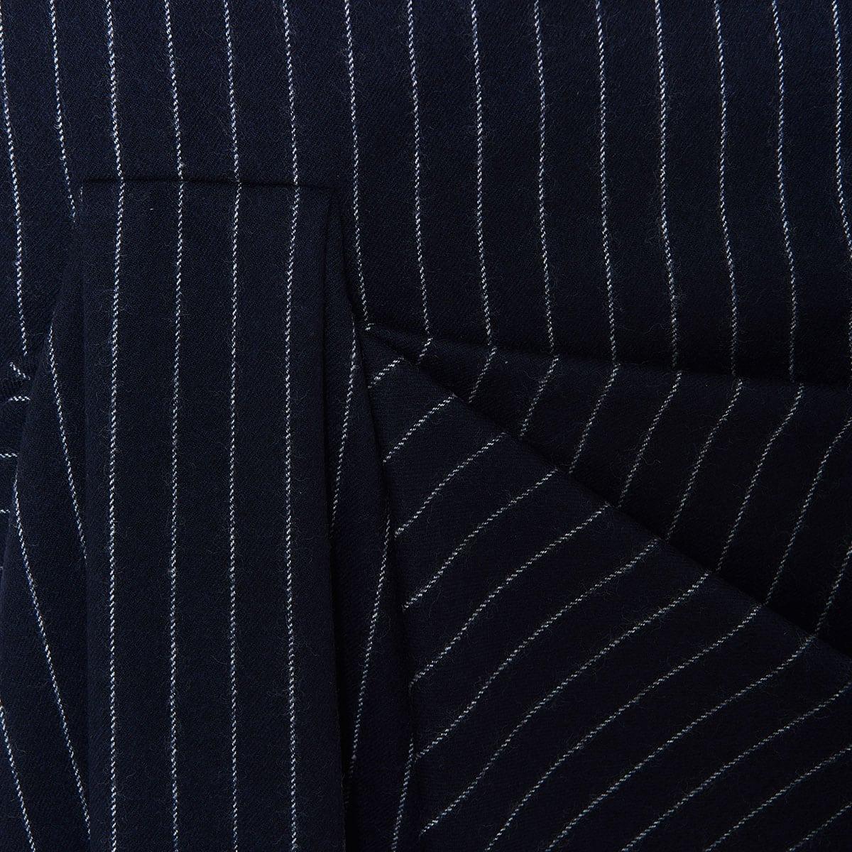 Pinstripe asymmetric draped skirt