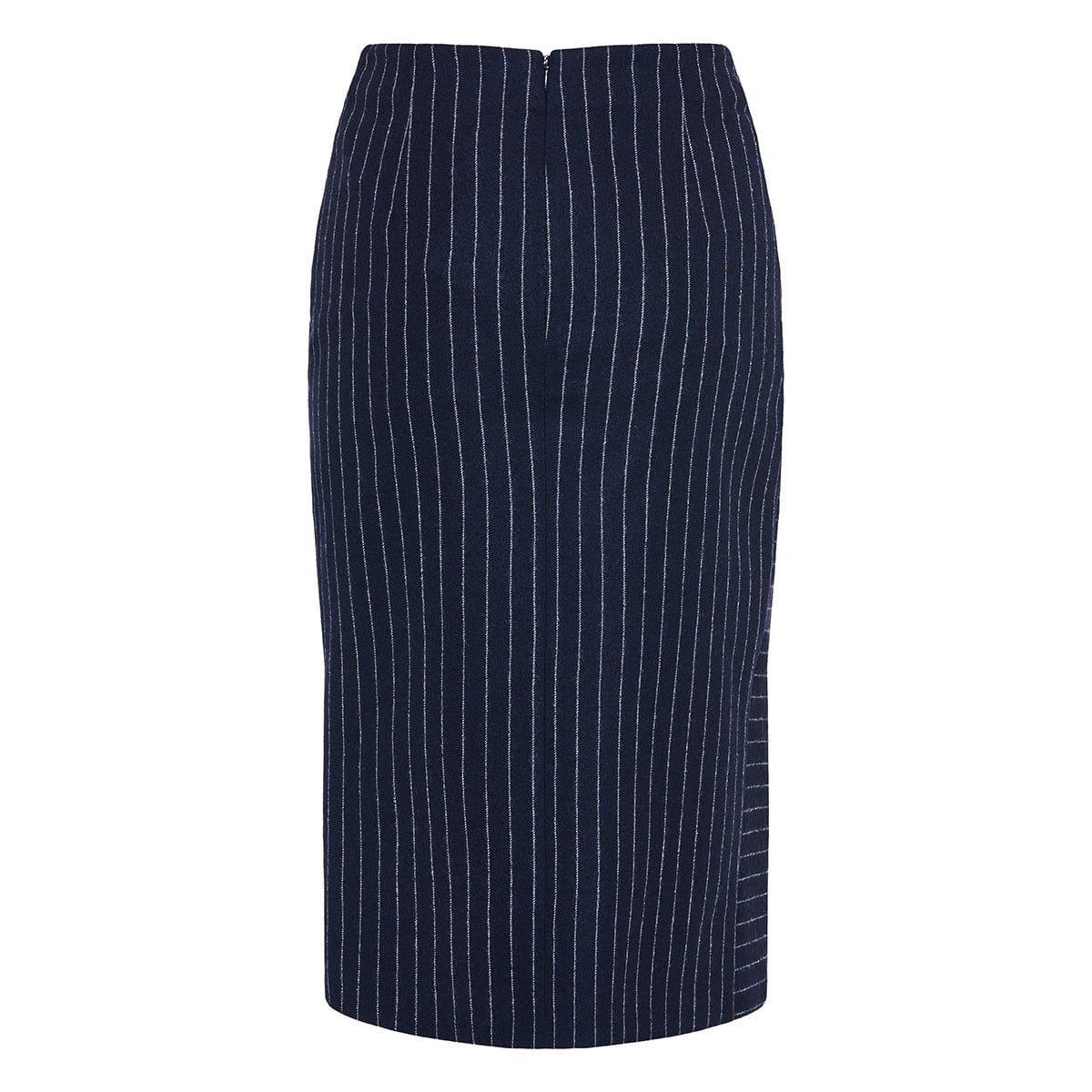 Pinstripe asymmetric draped skirt