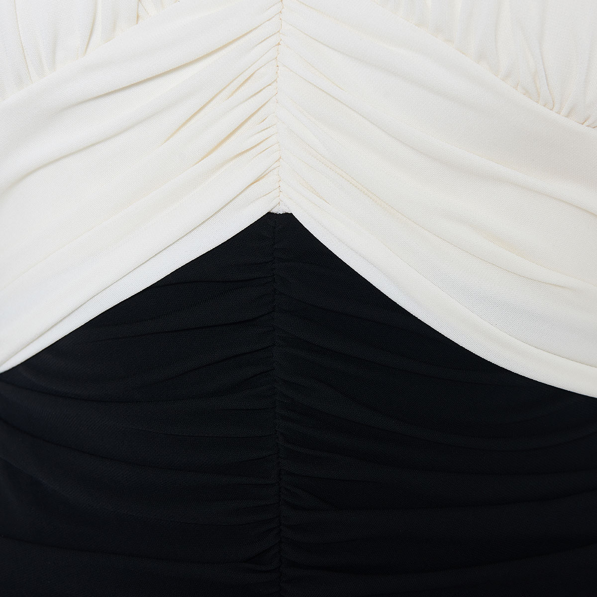 Two-tone ruched halterneck gown