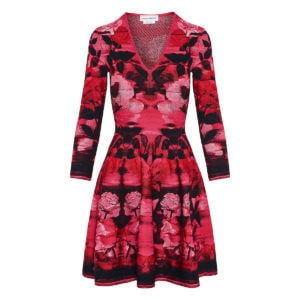 Floral jacquard-knit flared dress