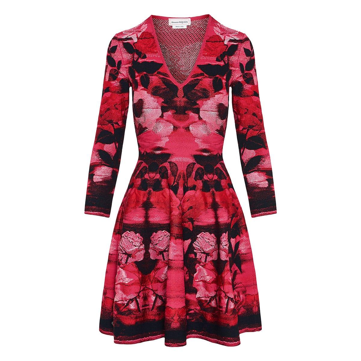 Floral jacquard-knit flared dress