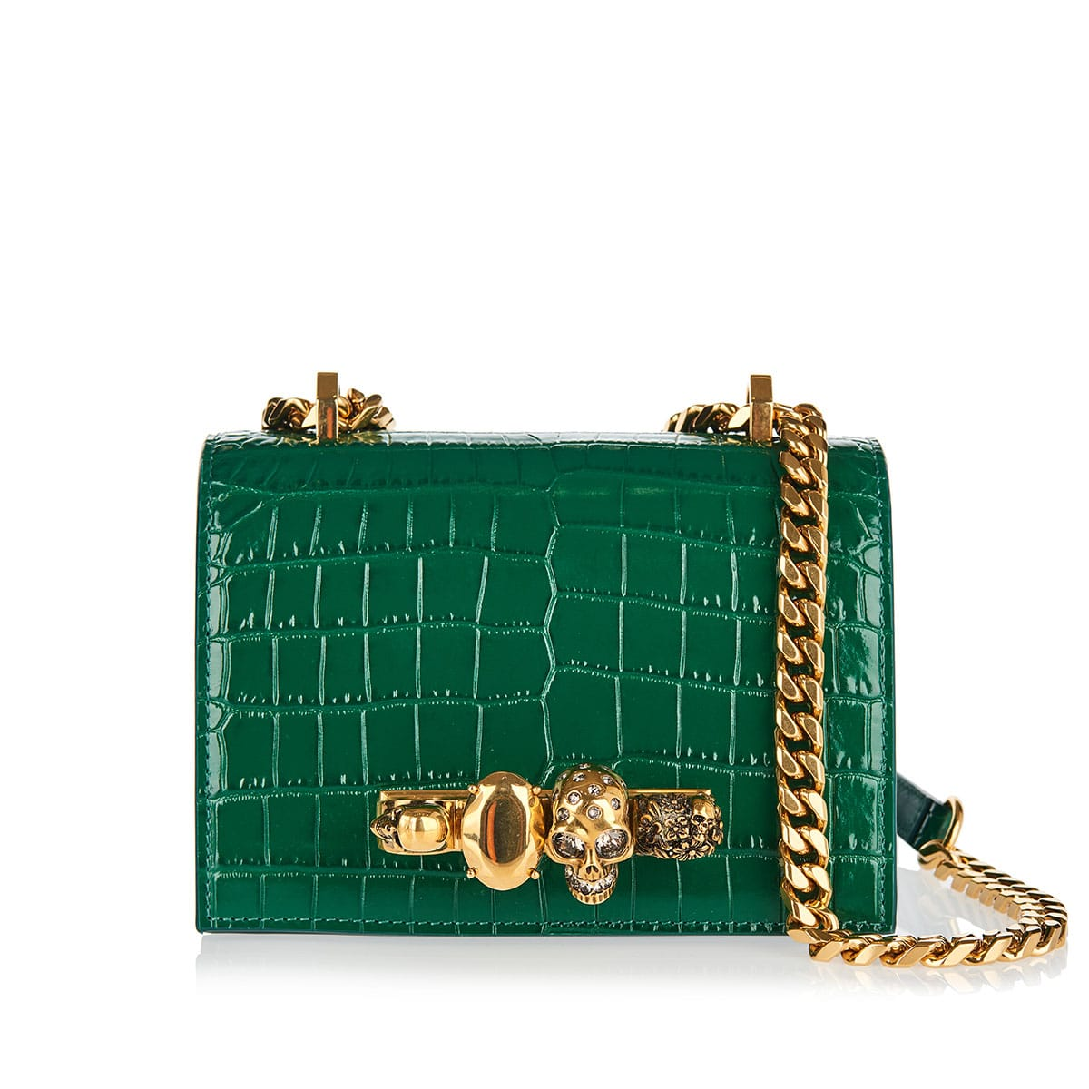 Four-ring small croc-effect chain bag