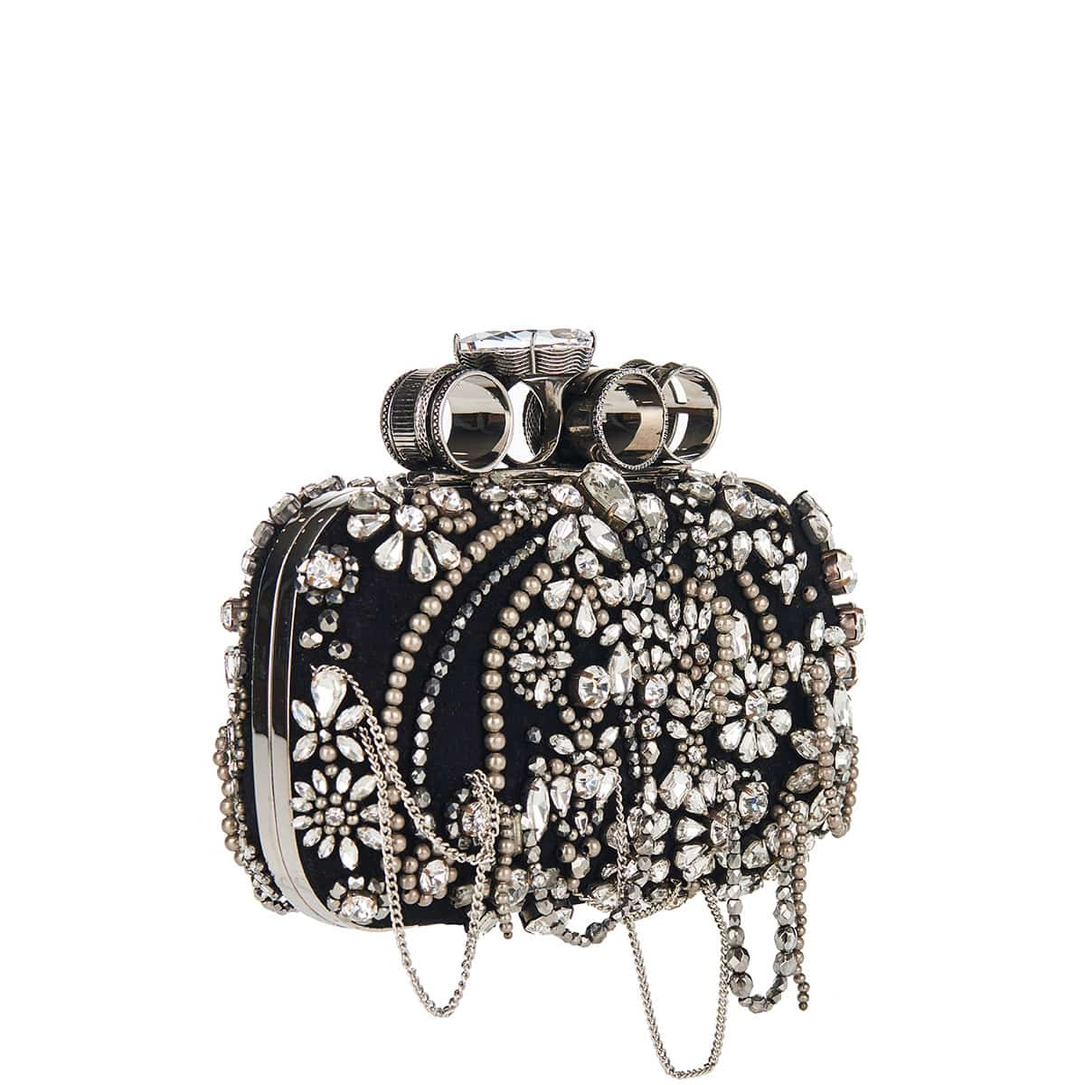 Four-ring crystal-embellished box clutch