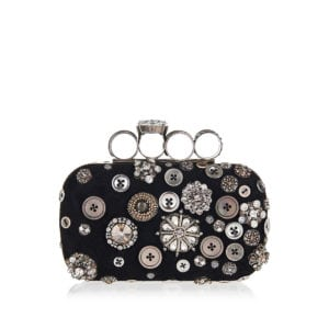 Four-ring embellished box clutch