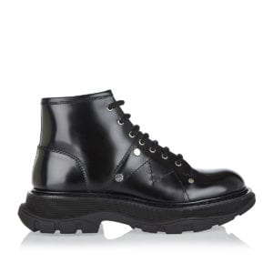 Tread-sole lace-up ankle boots