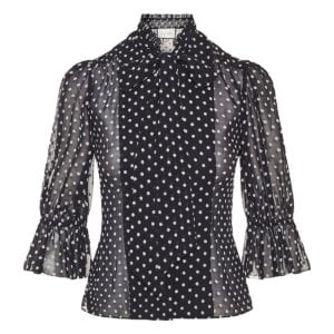 Calixte bow-tie polka-dot chiffon blouse