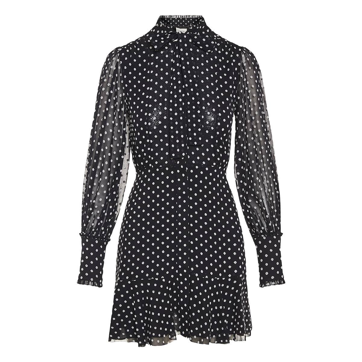 Ivette bow-tie polka-dot mini dress