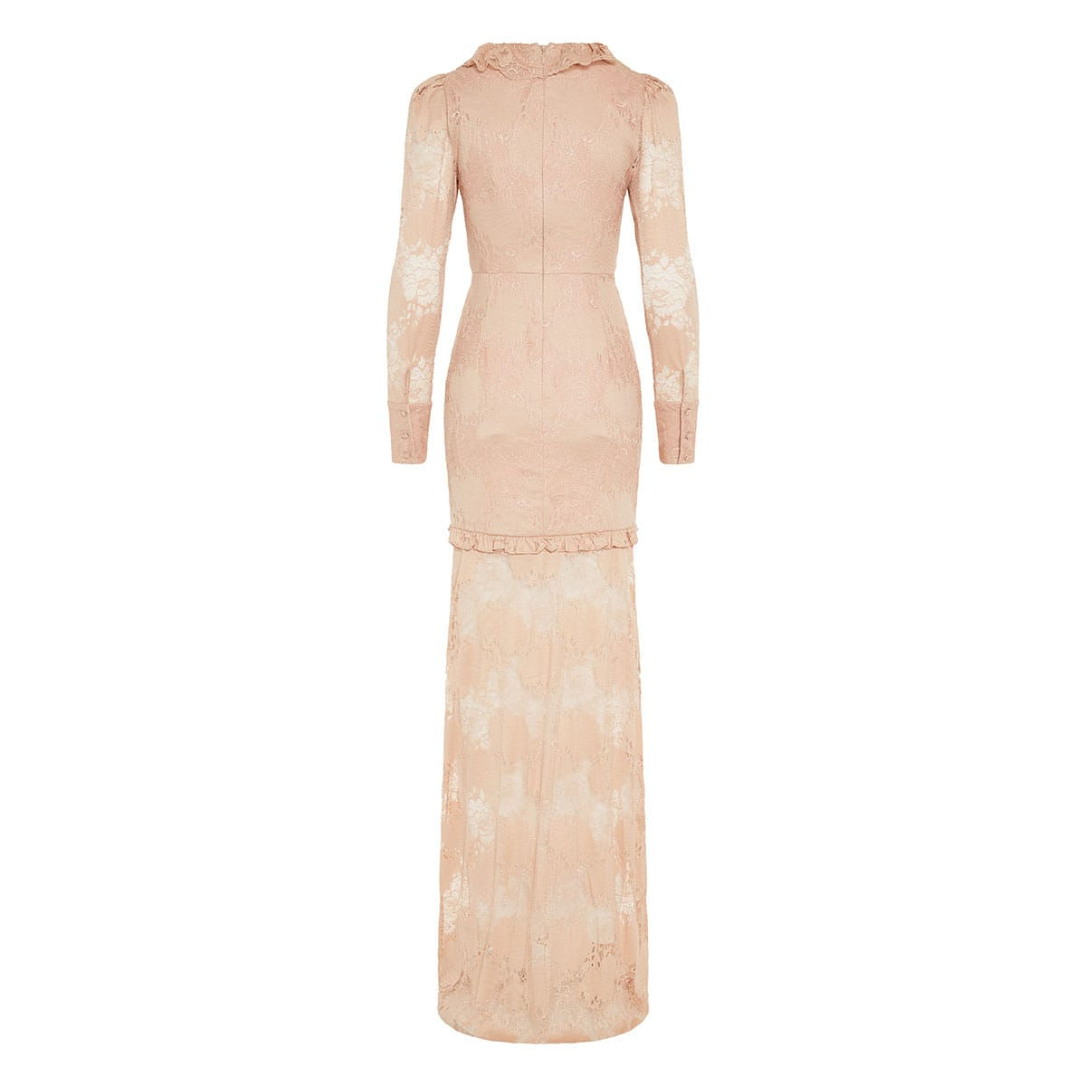 Plunging long lace dress