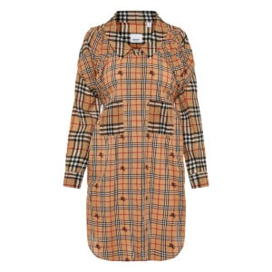 Patchwork-checked deconstructed shirt dress