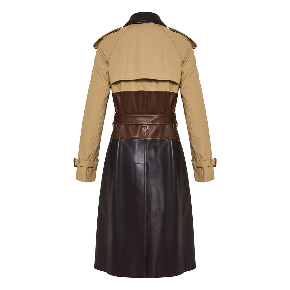 Deconstructed cotton and leather trench coat