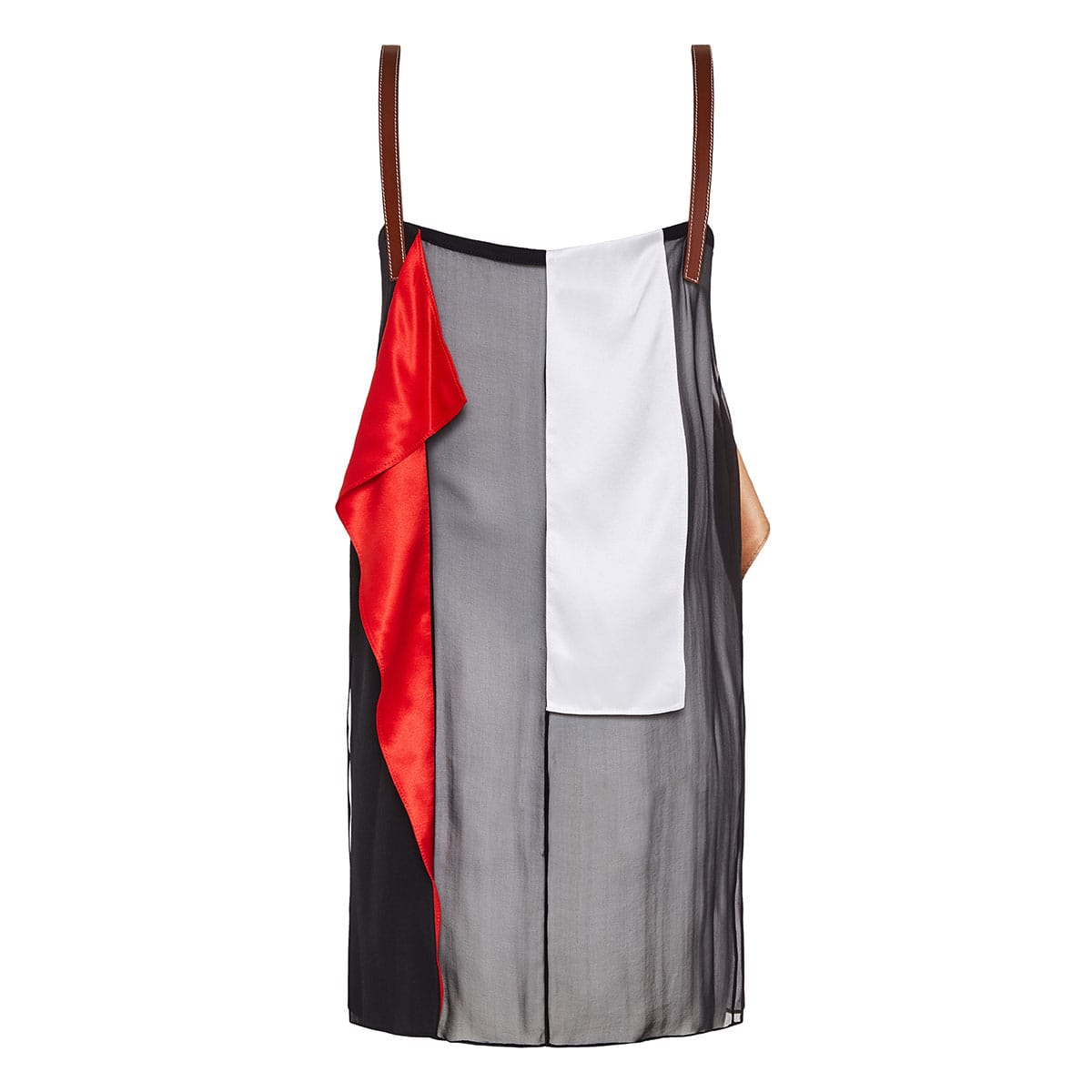 Leather-straps color-block top