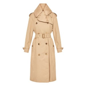 Trench coat with puffer collar