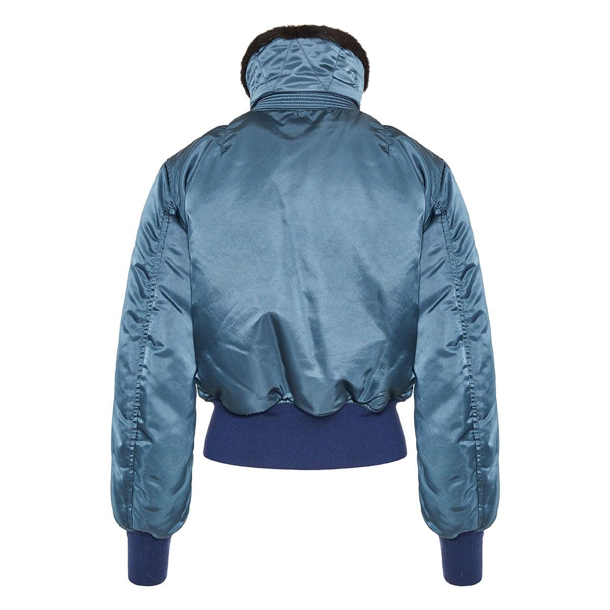 Fur-collar satin bomber jacket