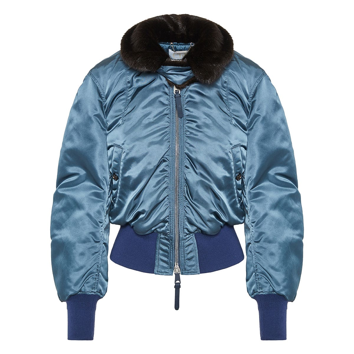 Fur-collar satin bomber jacket