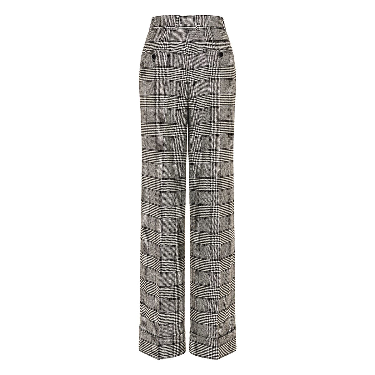 Wide-leg checked tailored trousers