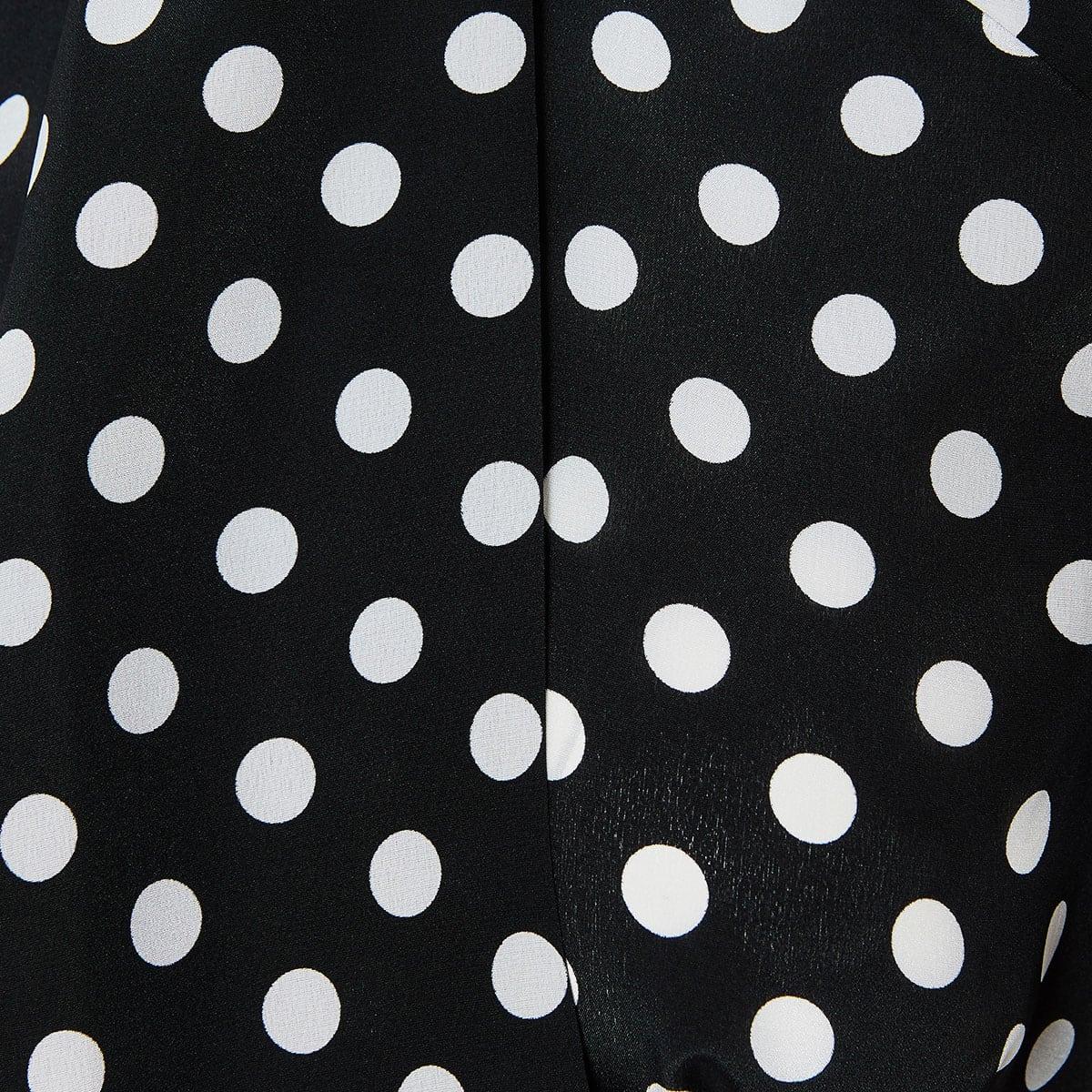 Bow-tie polka-dot crepe shirt
