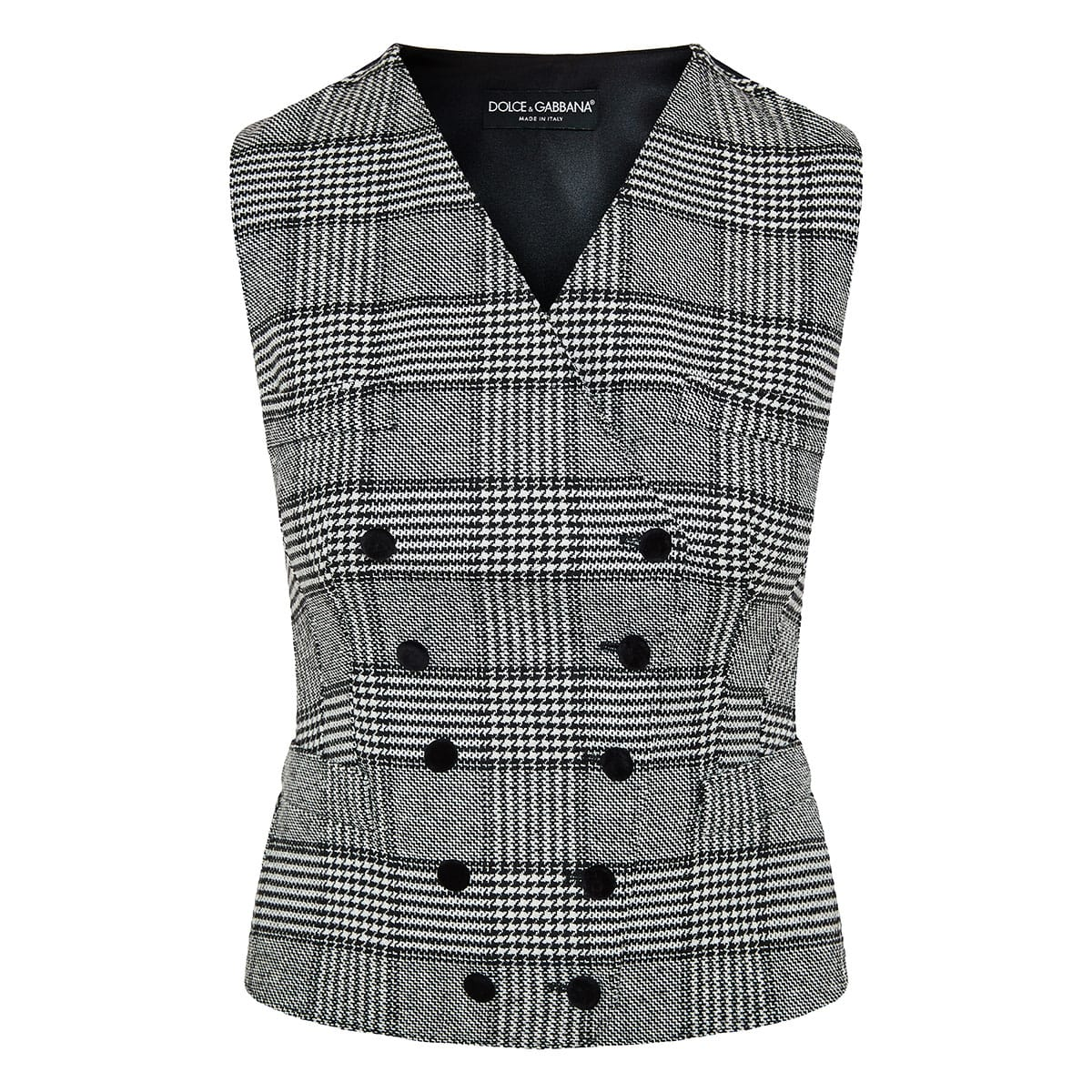 Double-breasted checked vest