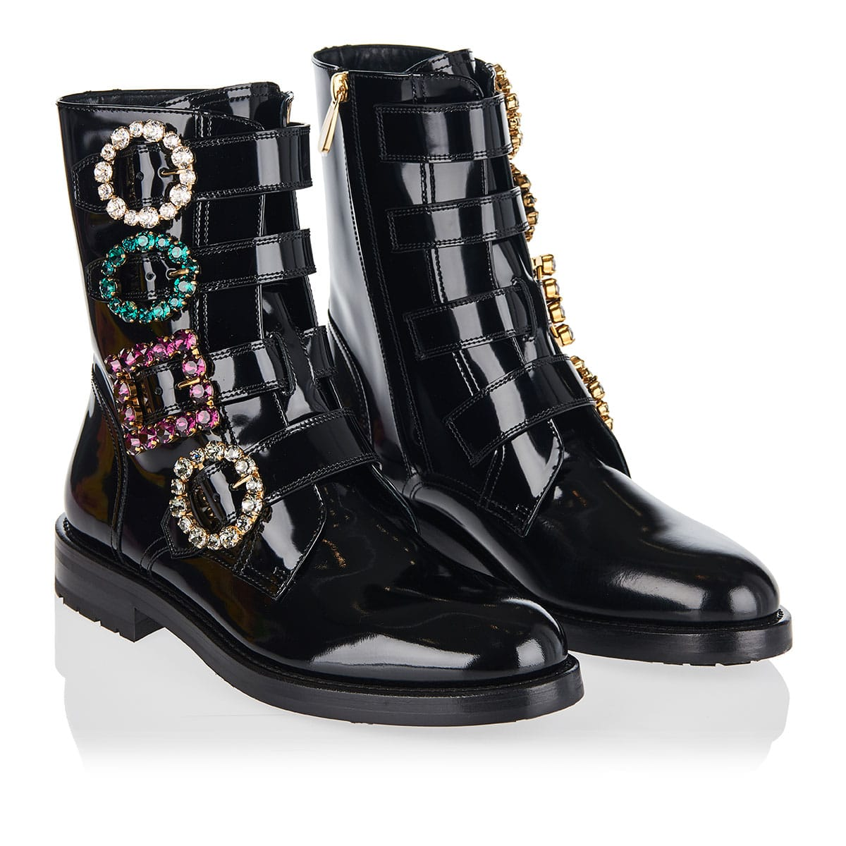 Patent leather boots with jeweled buckles