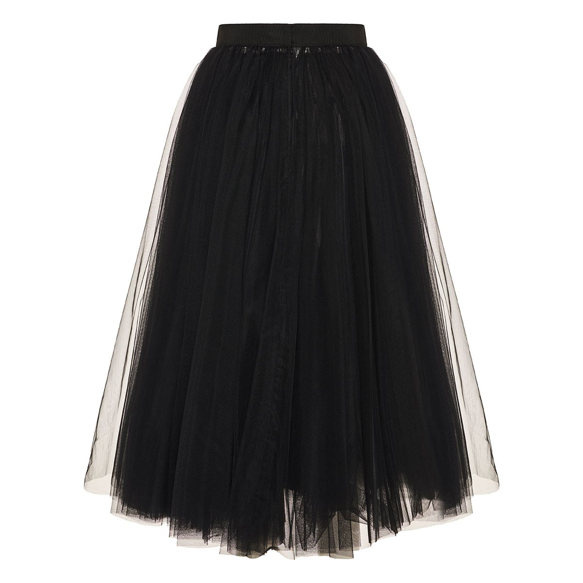 Tulle pleated midi skirt