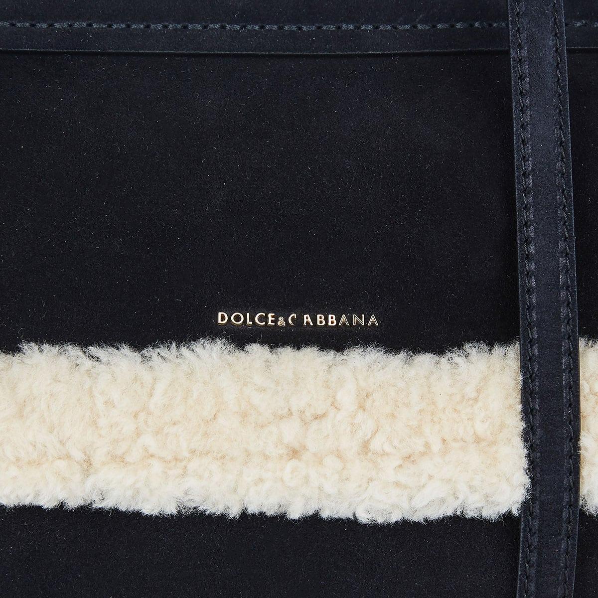 Sicily shearling-trimmed suede bag