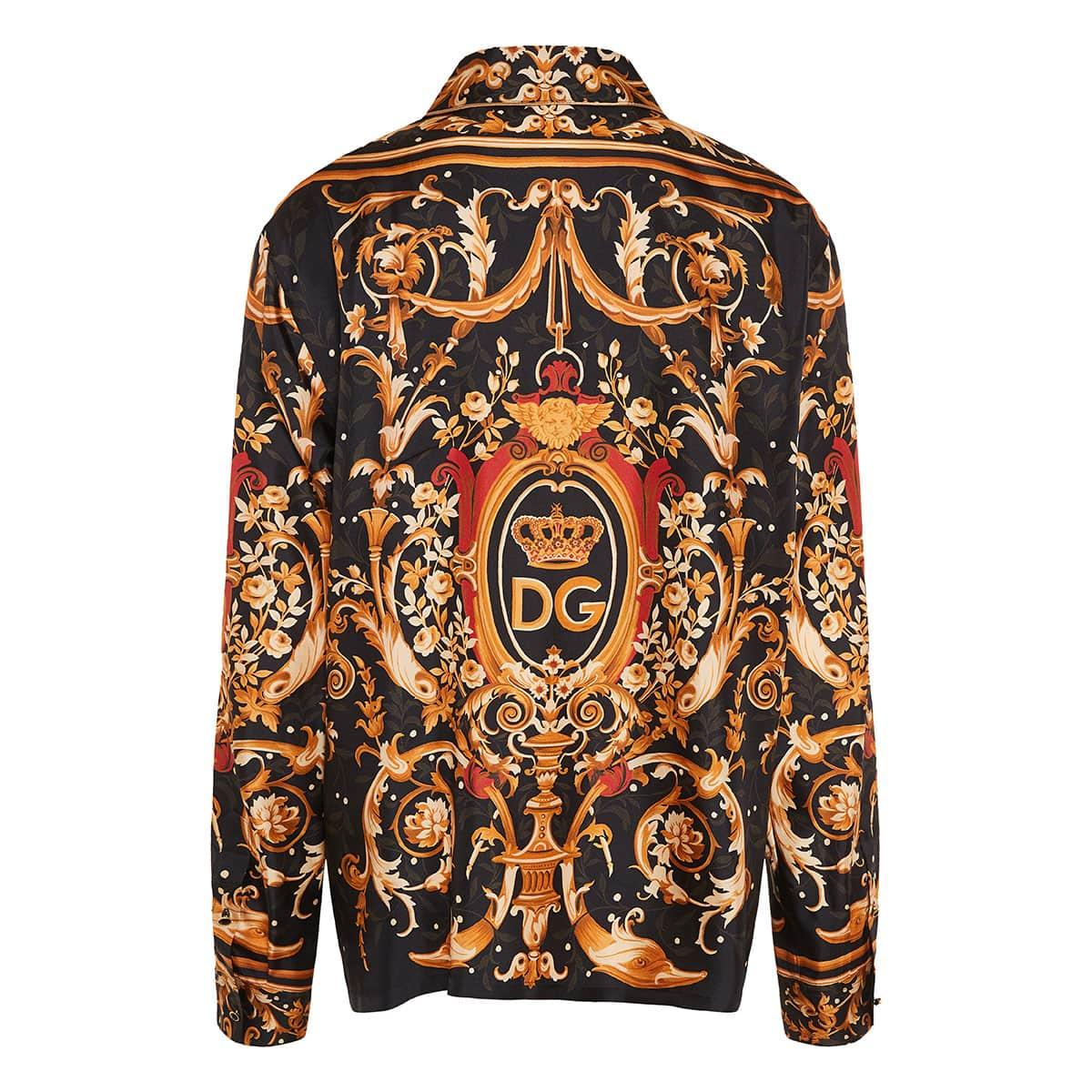 Baroque print silk pajama shirt