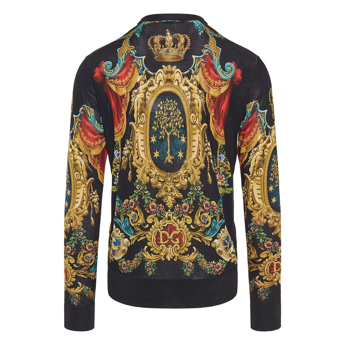 Printed silk sweater