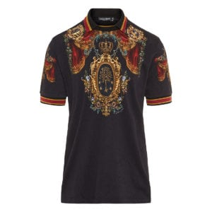 Printed jacquard polo shirt