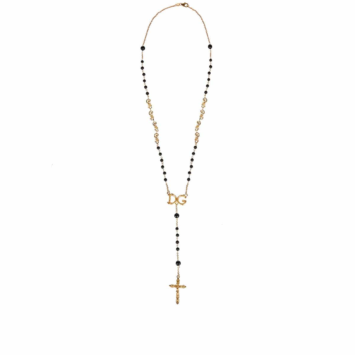 Gold-plated rosary necklace