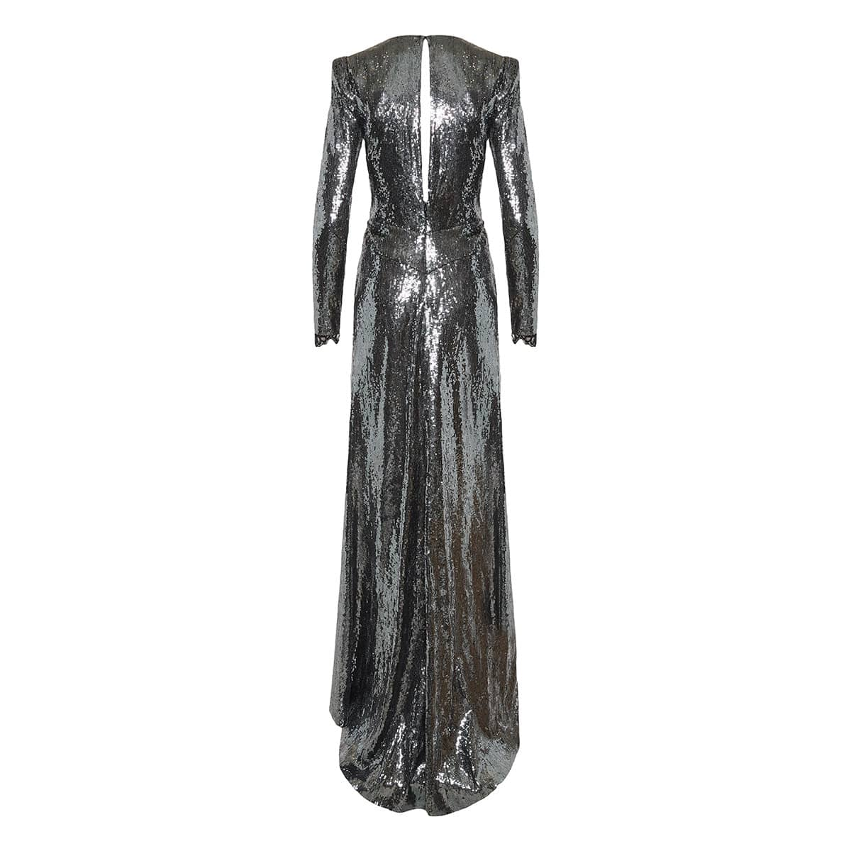 Plunging draped sequin gown