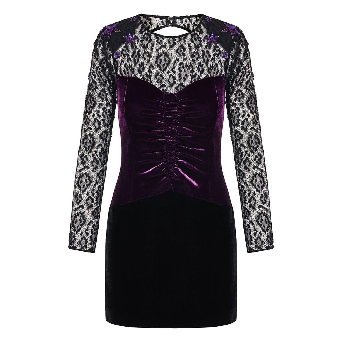 Lace-paneled velvet mini dress