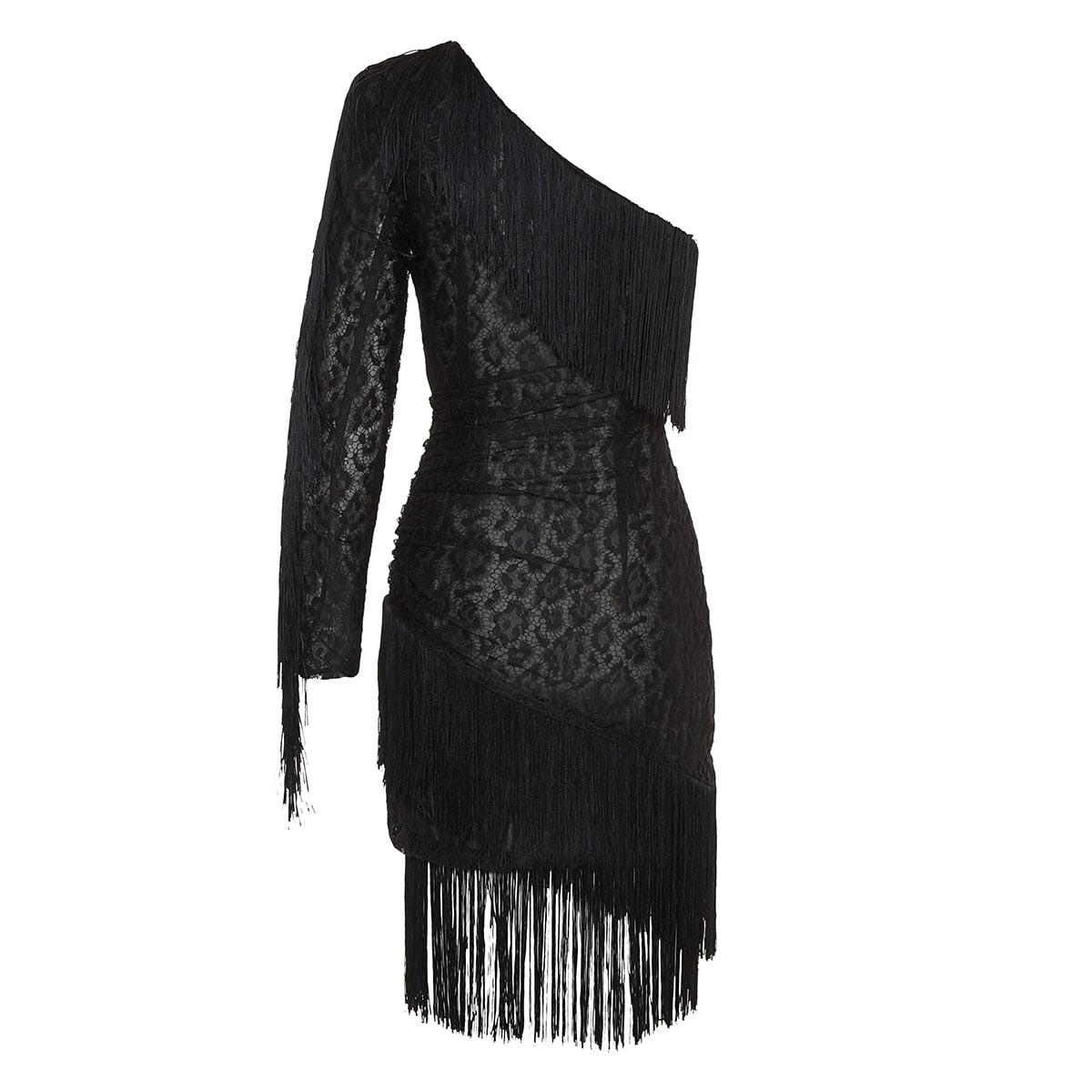One-shoulder fringed lace mini dress
