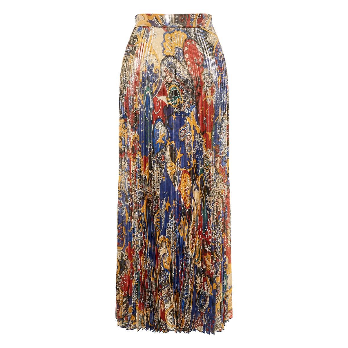 Printed long pleated skirt