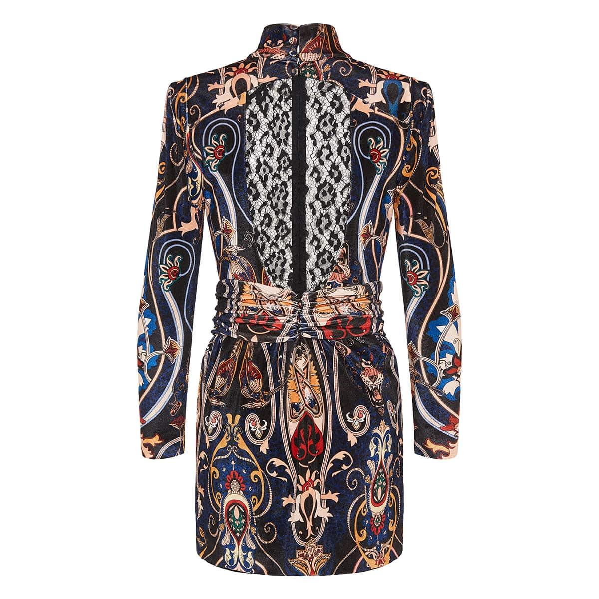 Printed velvet mini dress