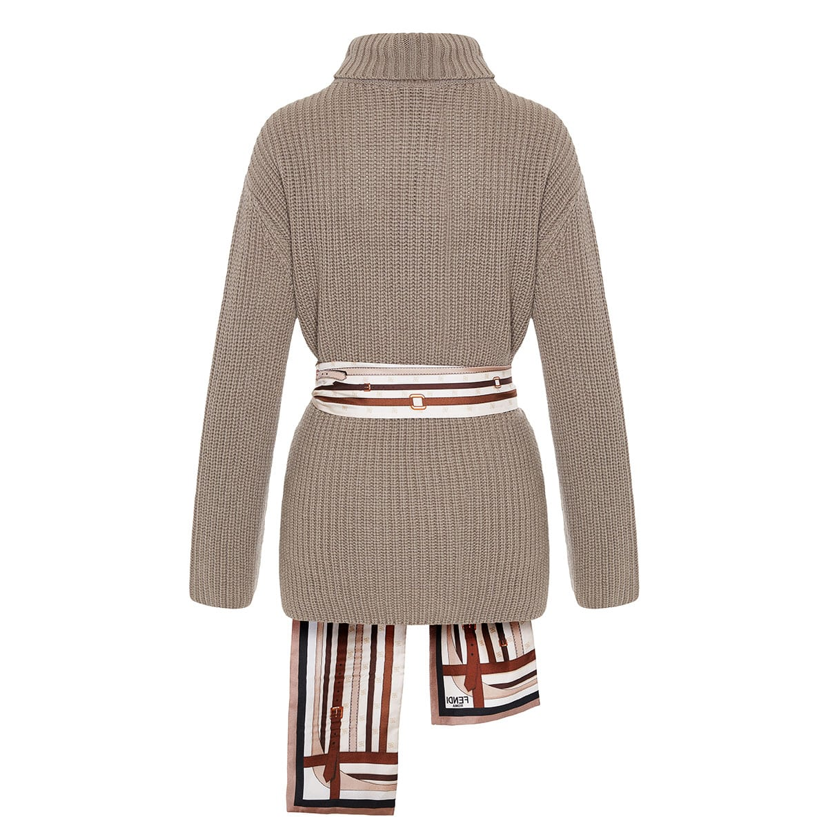 Oversized sweater with scarf belt