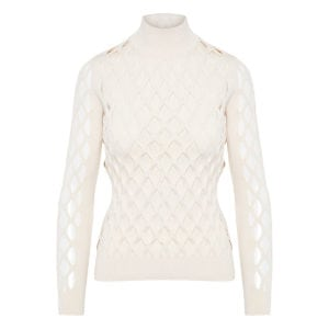 Mesh-paneled knitted blouse