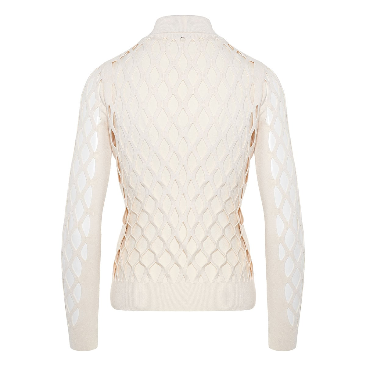 Mesh-paneled knitted blouseMesh-paneled knitted blouse