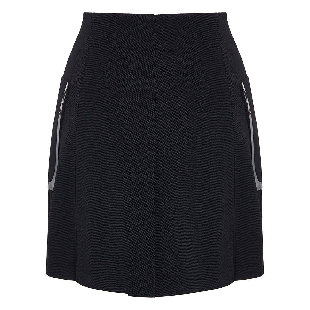 Button-embellished wrap mini skirt
