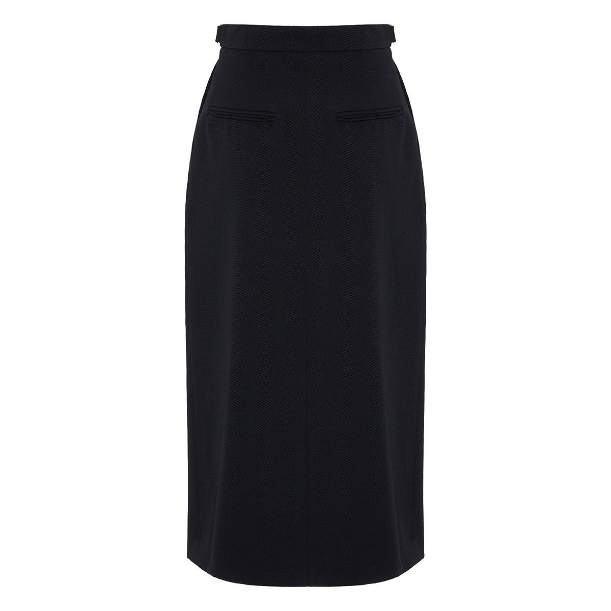 Wool gabardine pencil skirt