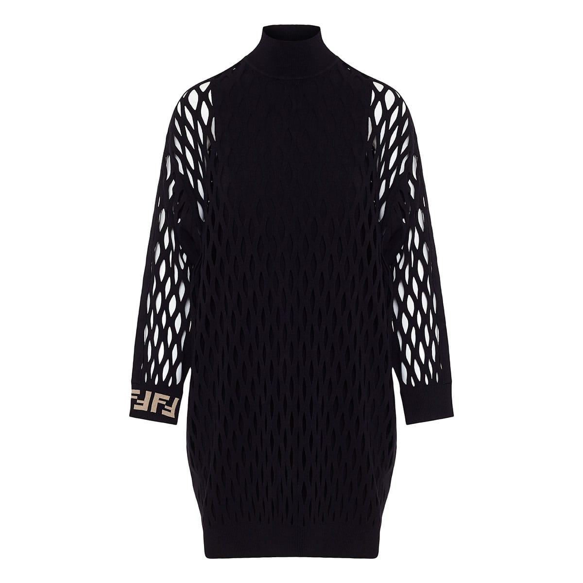 FF mesh-paneled knitted dress