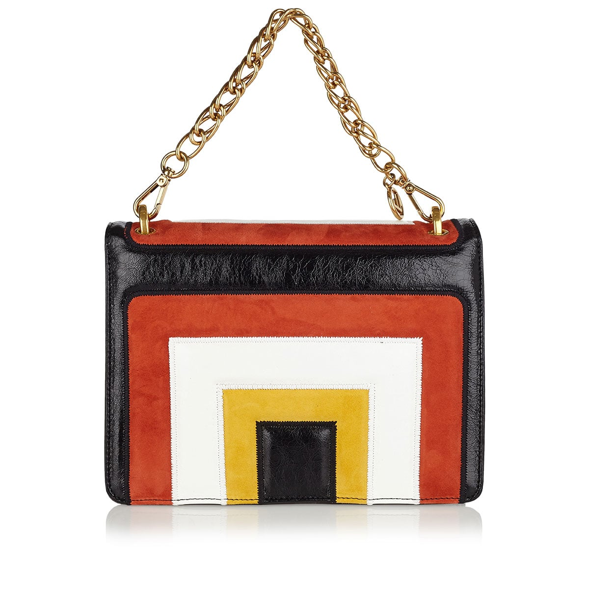 Kan U medium color-blocking leather and suede bag