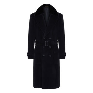 Double-breasted belted wool coat