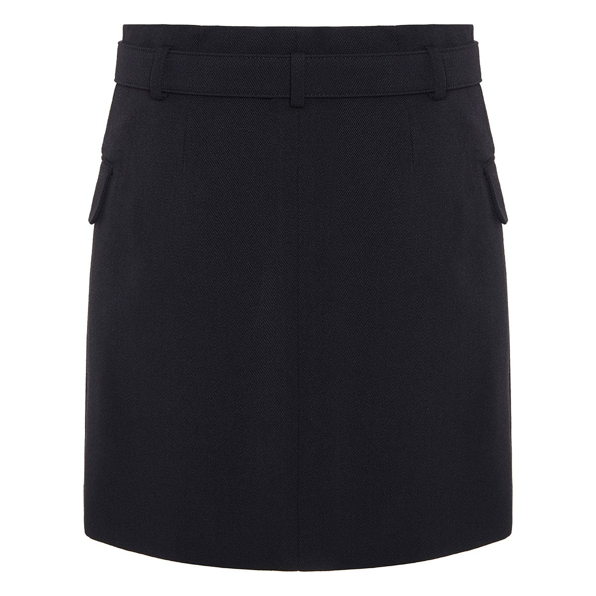 Button-embellished belted mini skirt