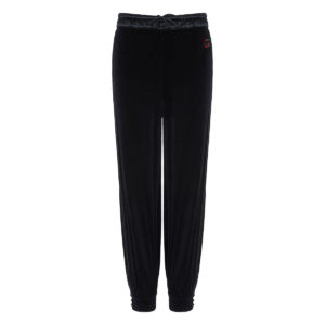 Wide-leg chenille track trousers